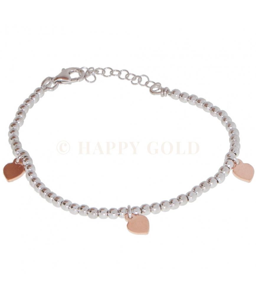 codici promozionali data di uscita vendite speciali bracciale in argento con palline bianche e ciondoli cuori rosa