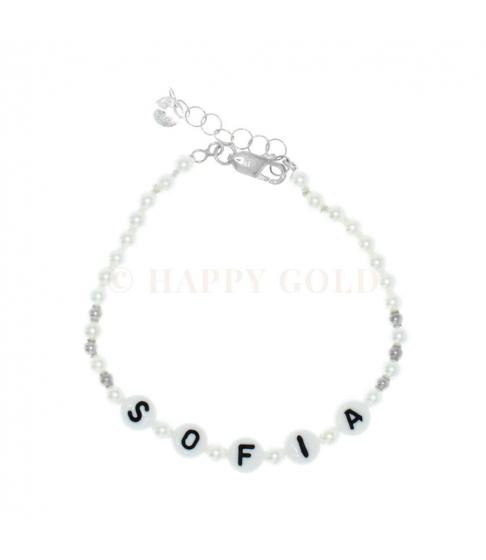 Bracciale perle con nome e palline argento