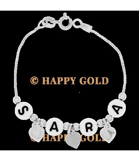 Bracciale in argento con letterine in resina e ciondolini cuore